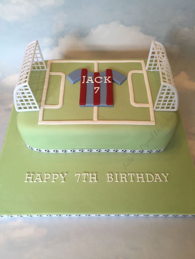 Football Pitch Cake by Julie @ Piped Delights with football shirt in Barcelona colours!