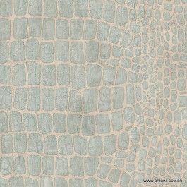 Papel de parede Decoração Animal Print Origini 142-47, Wallpaper, Importado, Lavável, Superfície lisa, Azul e Bege