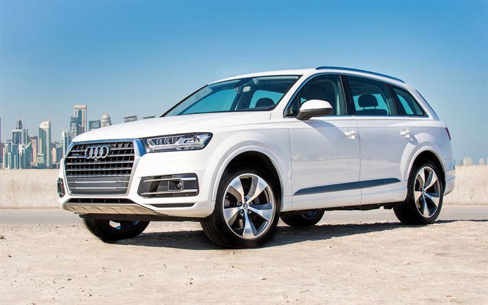 Indir duvar kağıdı Audi Q7, 2018 arabalar, Cipler, lüks arabalar, beyaz Q7, Alman otomobil, Audi