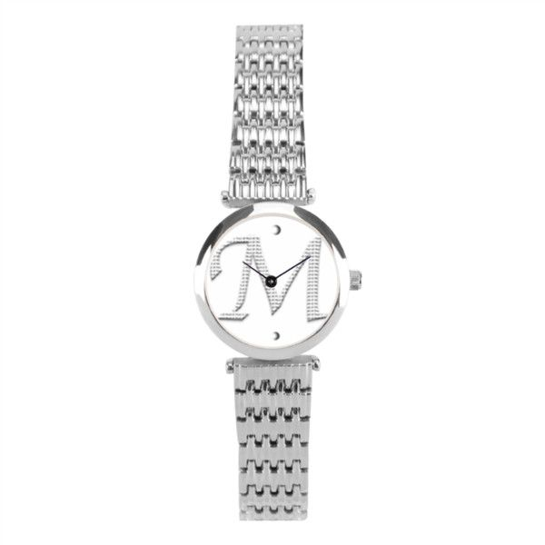 Signature Silver Fine Watch Women's Stainless Steel Wrist Watch Silver... ($78) ❤ liked on Polyvore featuring jewelry, watches, silver wrist watch, stainless steel jewelry, leather-strap watches, logo watches and digital wrist watch