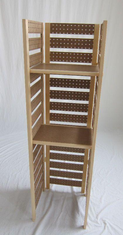Pegboard Display Shelf - 3 Panels - 2 Shelves Folds Up!