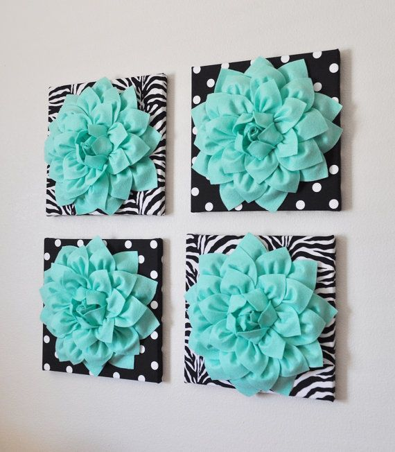 """cool Wall Decor -SET OF FOUR Mint Dahlias on Black and White Prints 12 x12"""" Canv..."""