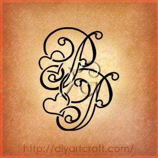 hearts monogram.....cute family tattoo for children's names