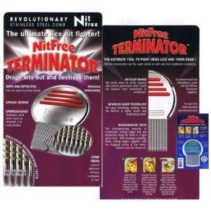 Nit Free Terminator Lice Comb,  Professional Stainless Steel Louse and Nit Comb for Head Lice Treatment, Removes Nits