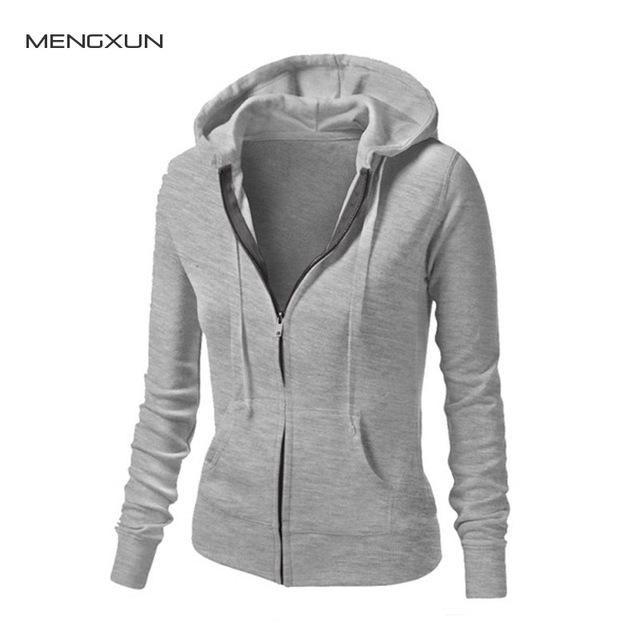 Women Hoodies Sweatshirts 2017 New Casual Ladies Long Sleeve O-neck Slim Zipper Solid Hooded Female Coat Jackets