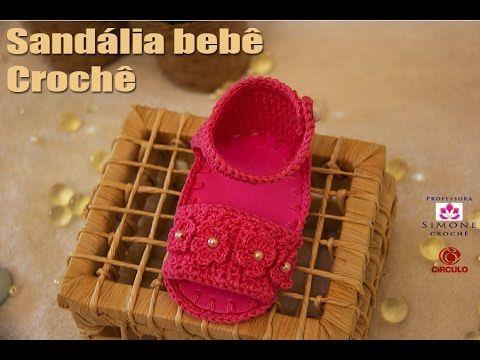 Sandalia Bebê Crochê Rosa - Professora Simone