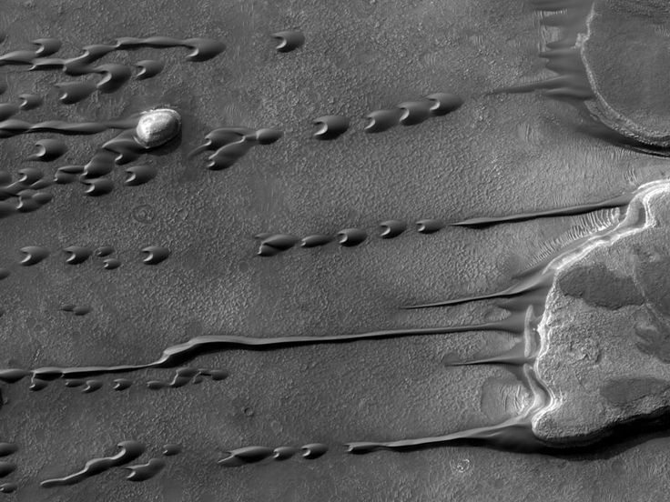 Flowing Barchan Sand Dunes on Mars:   Although liquids freeze and evaporate quickly into the thin atmosphere of Mars, persistent winds may make large sand dunes appear to flow and even drip like a liquid.