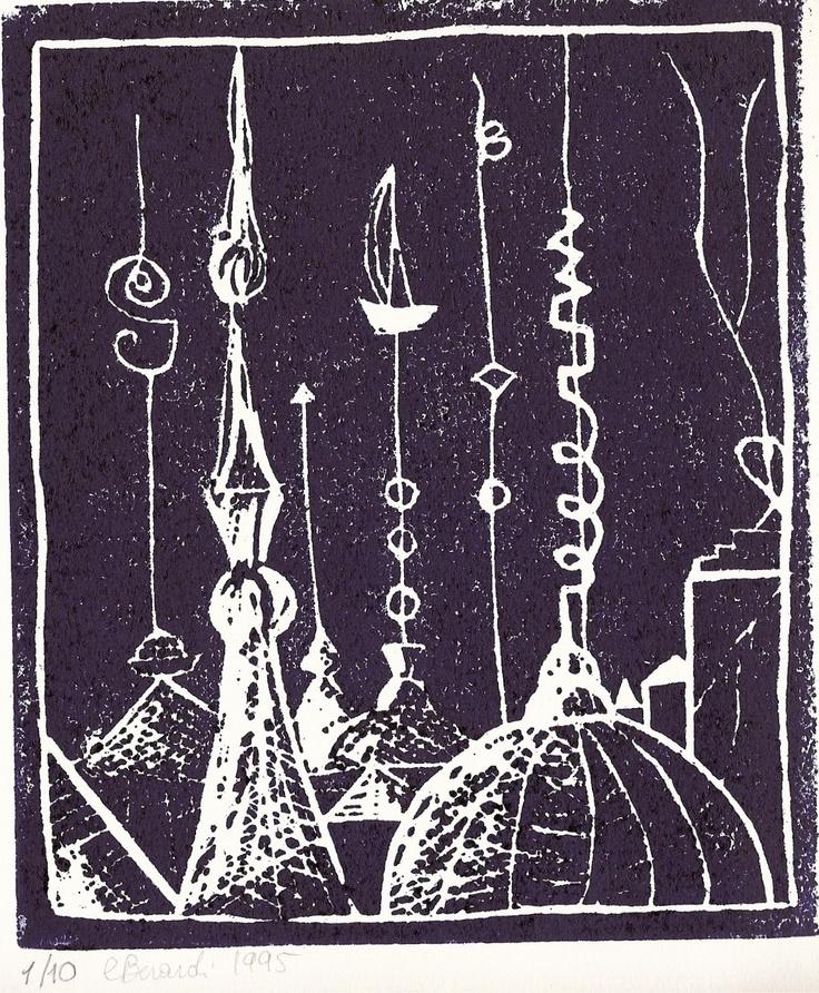 """Lalage, illustrazione di Cristina Berardi per   """"Città Invisibili"""" di Italo Calvino, linografia, 1995"""