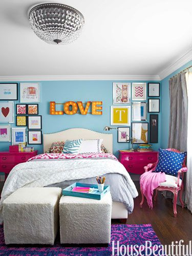 Girl's Room  Her daughter chose hot-pink accessories for her room, with walls painted in Benjamin Moore Aura in Pool Blue. Raleigh bed by Pottery Barn. Williams- Sonoma Home's Robertson cubes.  Read more: Monica Bhargava California House - Global Home Decor - House Beautiful
