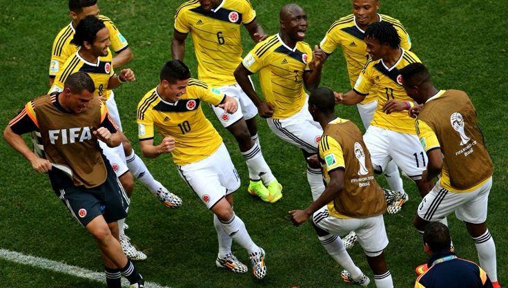 James Rodriguez celebrates dancing with teammates