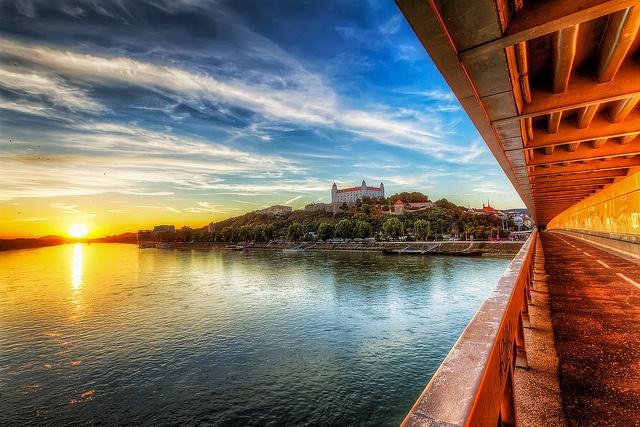 Sunset on the New Bridge, Bratislava, Slovakia #isadoreapparel #roadisthewayoflife #cyclingmemories
