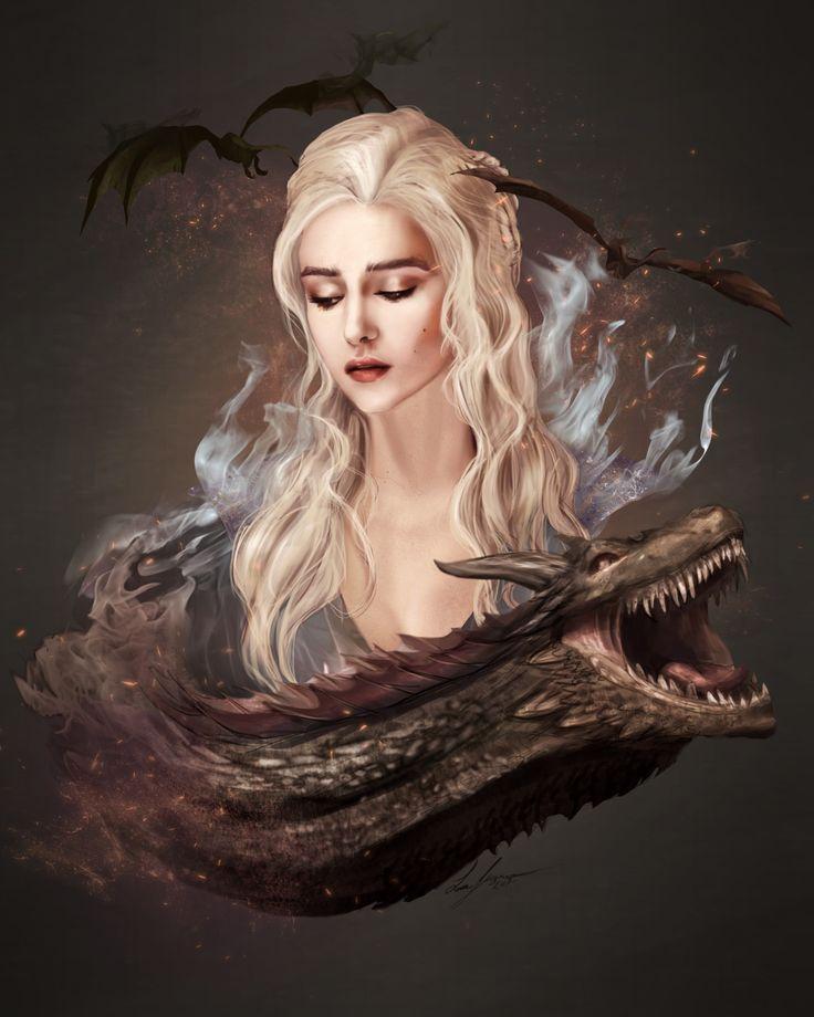 Daenerys Tagaryen, Luke Fitzsimons on ArtStation at https://www.artstation.com/artwork/3DbBg