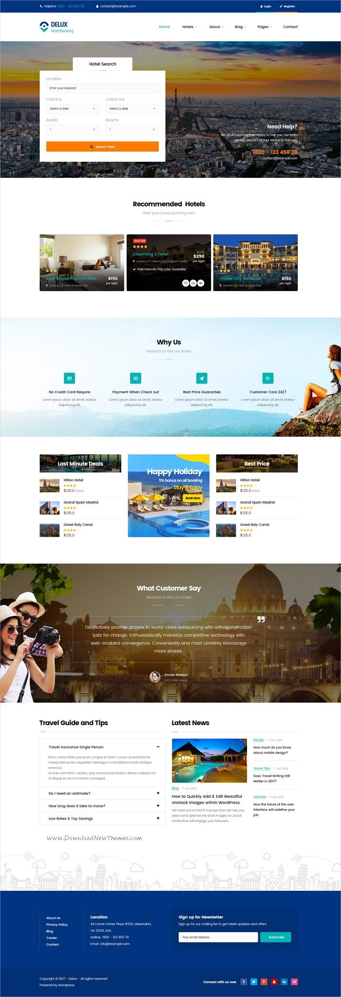 Delux is clean and modern design 3in1 responsive #WordPress theme for online #hotel and #resorts booking website download now..