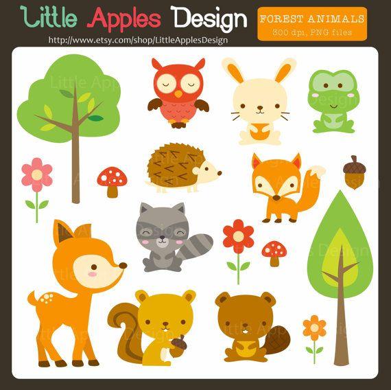 Woodland Animal Clip Art / Woodland animales imágenes prediseñadas / imágenes…