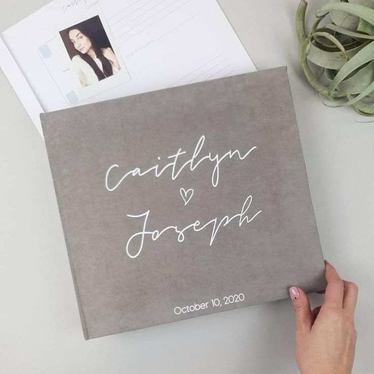 Gray Instax Photo Guestbook With White Lettering As Personalized Wedding Album In 2020 Personalized Wedding Album Photo Guest Book Personalised Guest Book