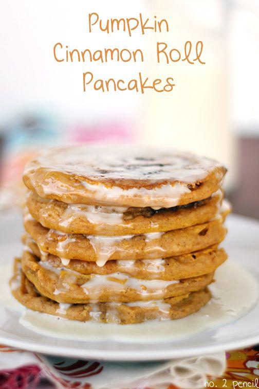 Pumpkin Cinnamon Roll Pancakes - tender pumpkin pancakes with a buttery, cinnamon swirl!