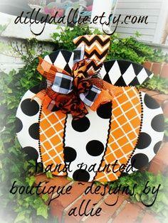 chevron pumpkin door hanger | prePPy pumpkin designs harlequin chevron polka by dillydAllie, $49.95