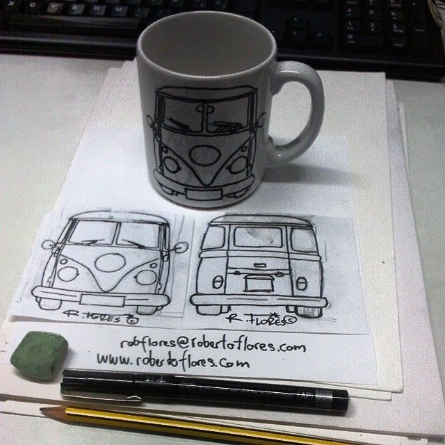 Instagram photo by @Roberto Flores Yoldi via ink361.com Working on this: #handpainted #coffee #mug with a #vw #kombi T1 #van.