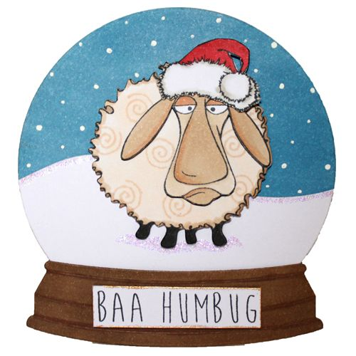 This is the Quirky Baa-Humbug set designed by Sharon Bennett for Hobby Art. Clear set contains 16 Clear stamps. This Stunning card was made by Becki Mayes