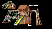 Wood Roof and Door Kit for Meridian Swingset  Change the look of your Meridian with wood!Xmas Time, Wooden Playset, Wood Roof, Meridian Swingset, Doors Kits, Backyards Plays, Plays Area, Swingset Change, Kids Backyards