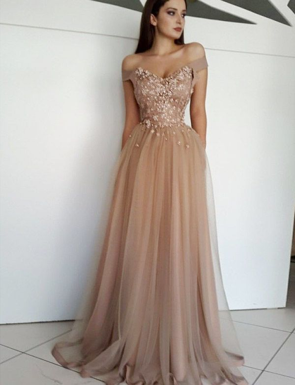 4f5fa5e207 A-Line Off-The-Shoulder Champagne Long Prom/Evening Dress #promdresses  #longpromdresses #fashionpromdresses #elegantpromdresses #eveningdresses