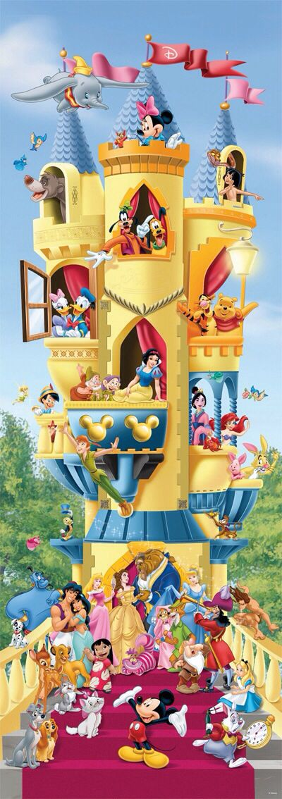 Classic Disney characters in a Disney castle