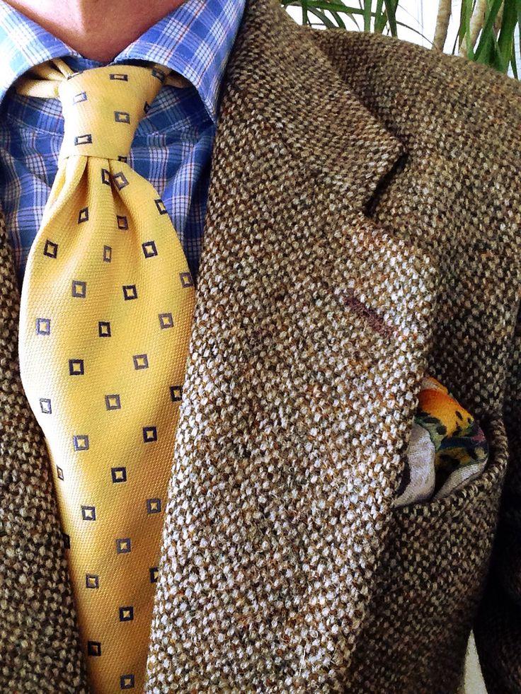 Brown tweed jacket, blue & white plaid shirt, yellow tie