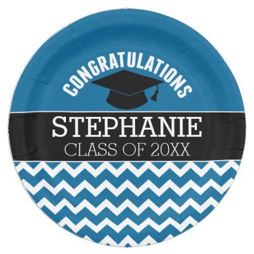 Congratulations Graduate - Blue Black Graduation Paper Plate