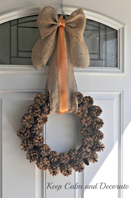 To keep the brown tones of this craft consistent, spray paint your wreath brown before gluing tiny pinecones to it. Then, add burlap and orange ribbon for a burst of color. Get the tutorial at Keep Calm and Decorate.