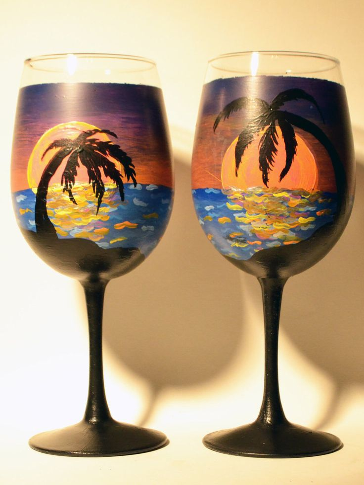 hand painted wine glasses-island sunset-set of 2 by creativematterz on Etsy https://www.etsy.com/listing/259730046/hand-painted-wine-glasses-island-sunset