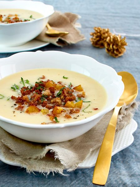 #Sellerie #Suppe #Croutons #Vorspeise #Weihnachten #Mett