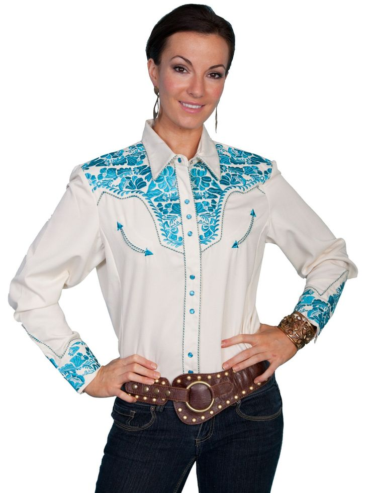 Scully Western Womens Cream Polyester L/S Floral Stitch ...
