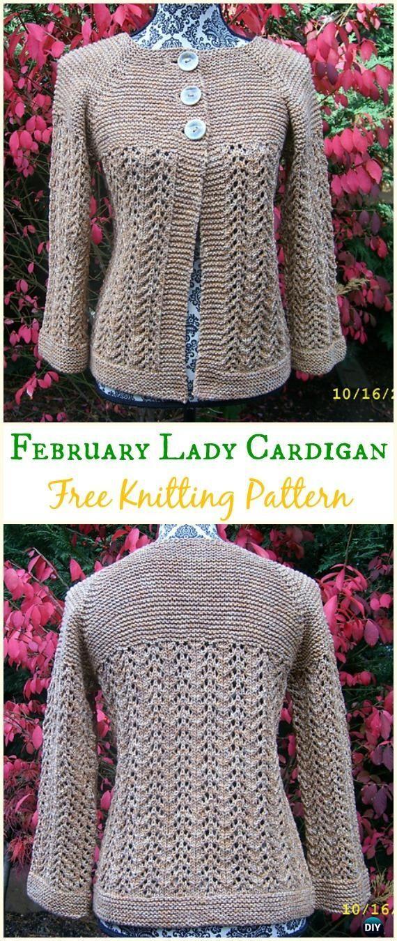 Women's February Lady Sweater Free Knitting Pattern - Knit Women Cardigan Sweater Coat Free Patterns