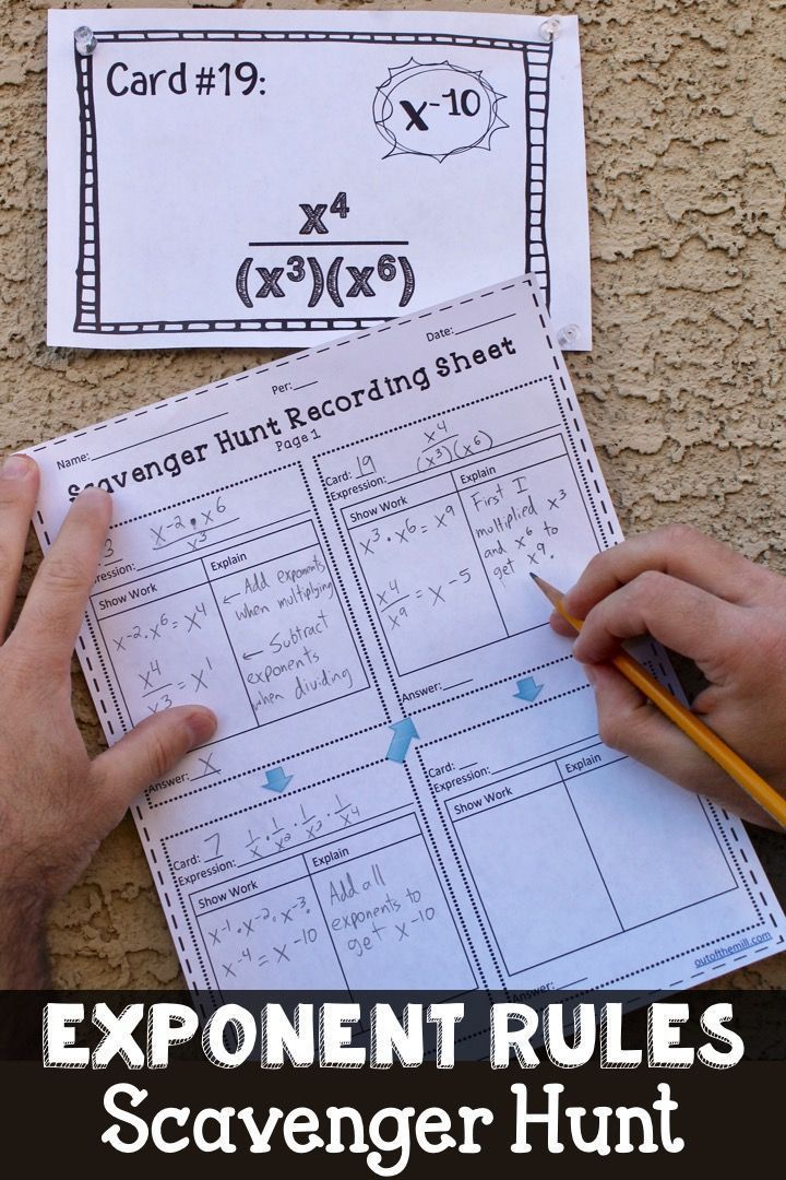 8.EE.1 Exponent Rules Scavenger Hunt (With images