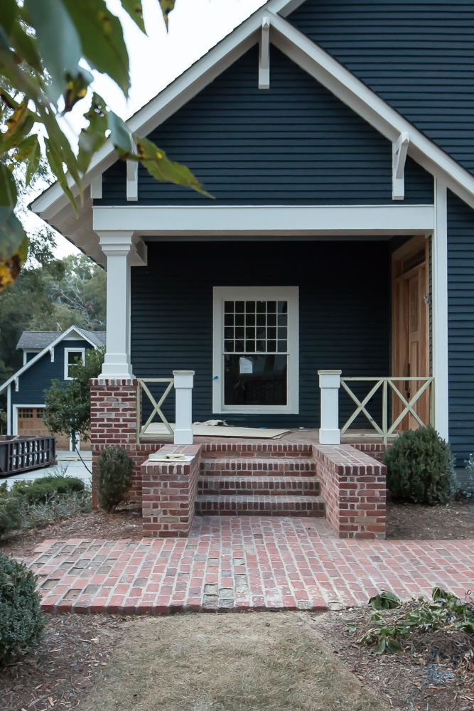 A Sneak Peek Reveal On The Blog At Our Dark Blue Gray Exterior House Siding!