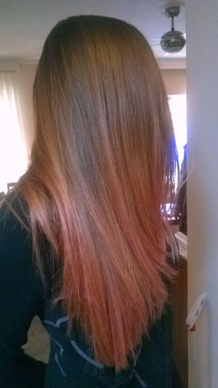 Hair by Penny Voudouri Caramel tones melt into rosegold