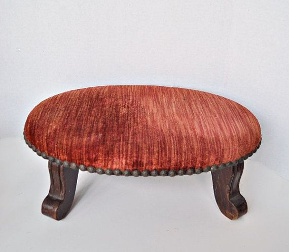 Small Antique Footstools | Antique Small Oval Footstool Coral Crushed Velvet Brass Head Tacks ...
