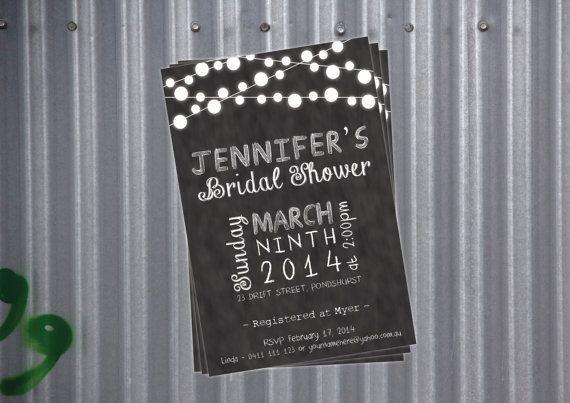 Kitchen Tea / Bridal Shower Invitation - Chalkboard / Blackboard on Etsy