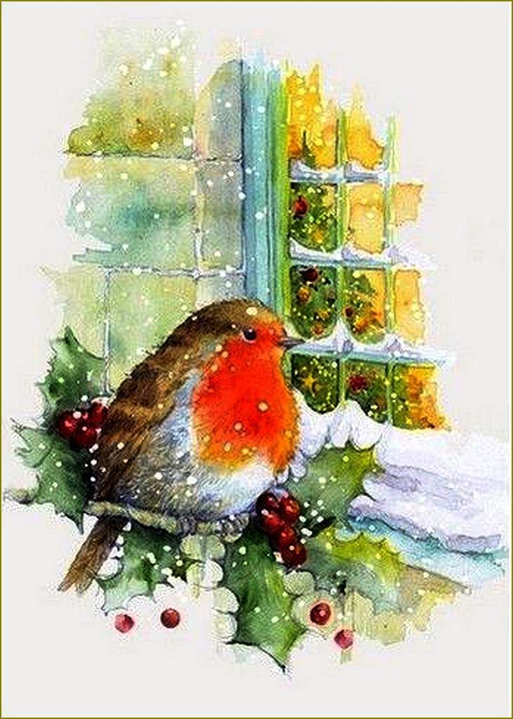 Cartes Illustrees Vintage Oiseaux Aquarelle Noel Illustration