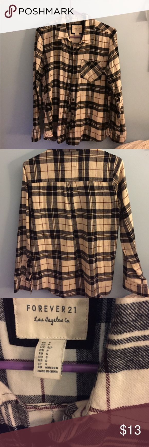Plaid Flannel Button Down Shirt Black and white pattern with a thin maroon line as well. Very soft flannel material, only worn a few times. Forever 21 Tops Button Down Shirts