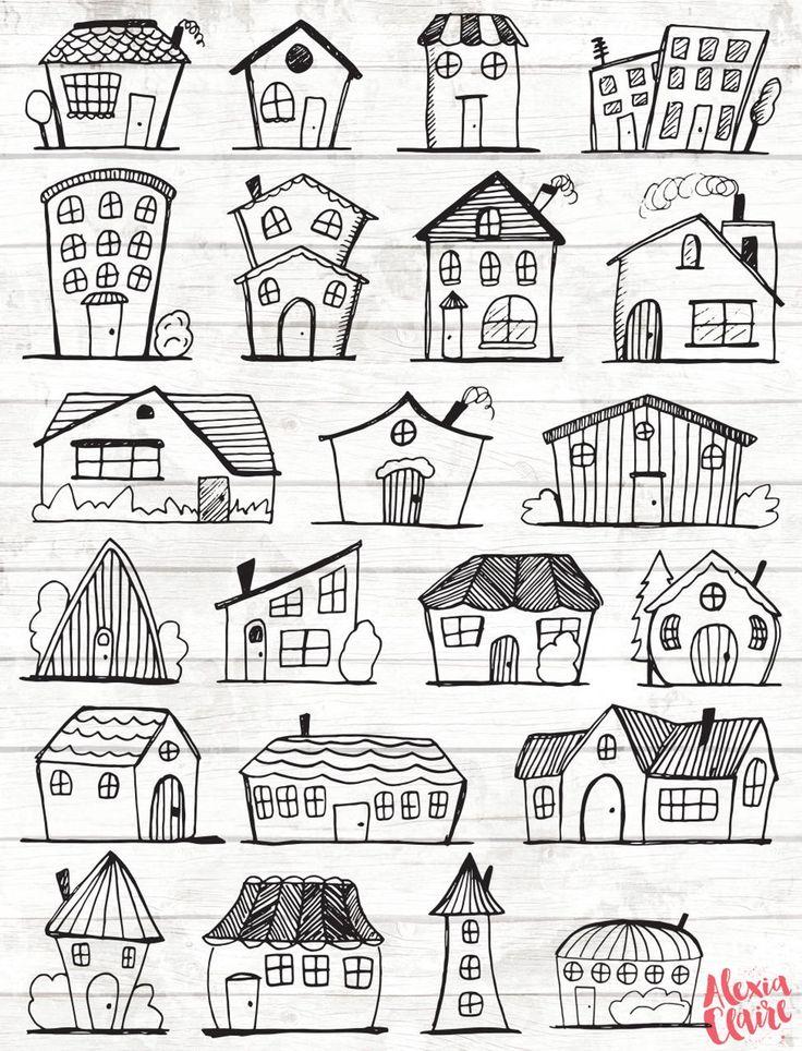 Doodle Haus Clipart – Haus Vektor Kunst – Haus – Haus – Stadt – Stadt – Haus PNG – Home Vector Download – Haus Illustrationen – 101