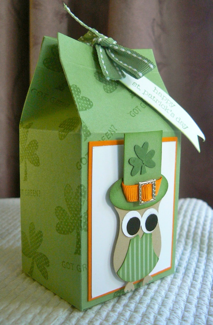 """Top o' the Morning To You""!  Milk Carton Treat Box  Stamp:teeny tiny sentiments   By:KB Papercraft"
