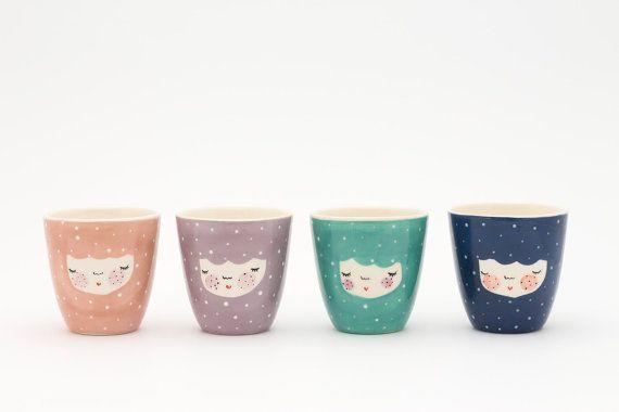 Conjunto de 4 taza de cerámica hecha a mano por MarinskiHeartmades
