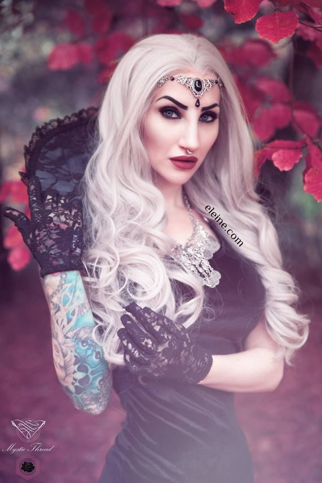 Grey-black lace gothic victorian vampire costume neck collar #mysticthread - www.mysticthread.com , Singer/Model/Edit: #Eleine  ,  Photo: #RikardEkberg