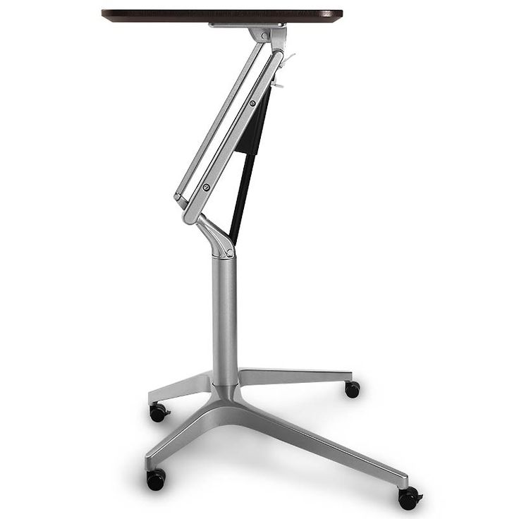 A portable desk and laptop workstation  According to some ergonomic experts, alternating between sitting and standing as you work may be the best way to stay refreshed, relaxed and alert. The height of this portable laptop desk and reading table adjusts easily to suit your mood and need. Assembly required.