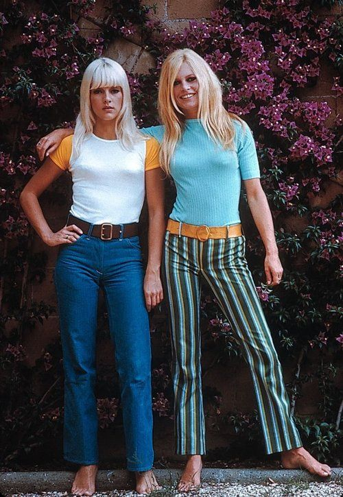 Sylvie Vartan & Brigitte Bardot, 1960's- The tops were definitely what I would have worn. The bottoms not so much. My sister would have though, especially the pair of jeans on the right.: