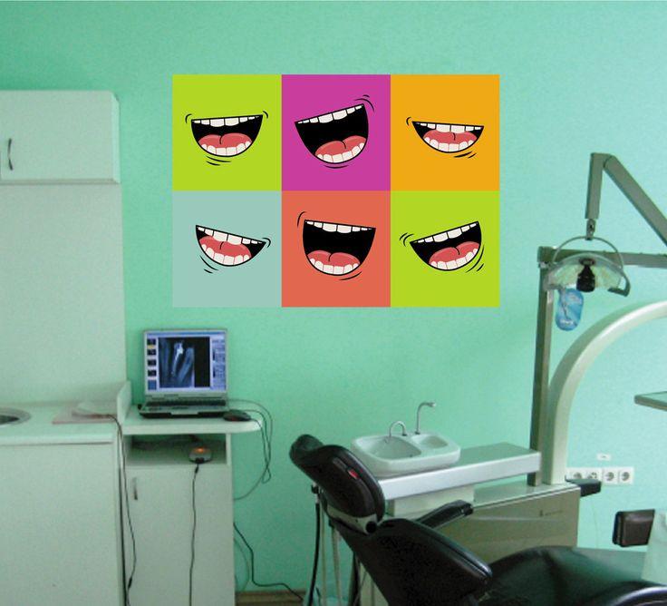 cik1518 Full Color Wall decal Smile teeth dentist dental surgery Clinic Hospital