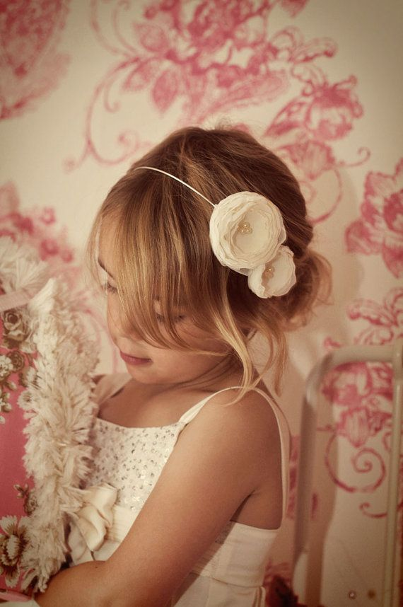 Flower girl headband / bridesmaid hairband - Wedding hair accessory - Ivory Cream White other Colours