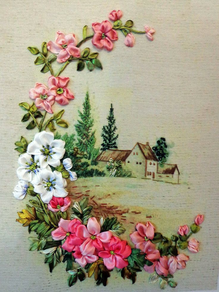 Embroidered picture , Silk ribbon embroidery, flowers, ribbonwork,  landscape by RibbonEmbroiderySilk on Etsy