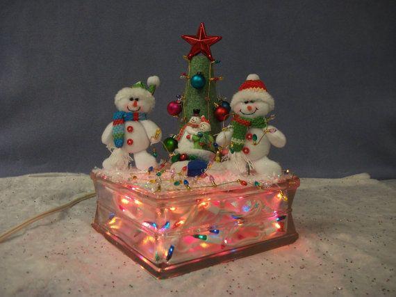 Decorative Light Blocks : Handmade christmas decorative lighted glass block with